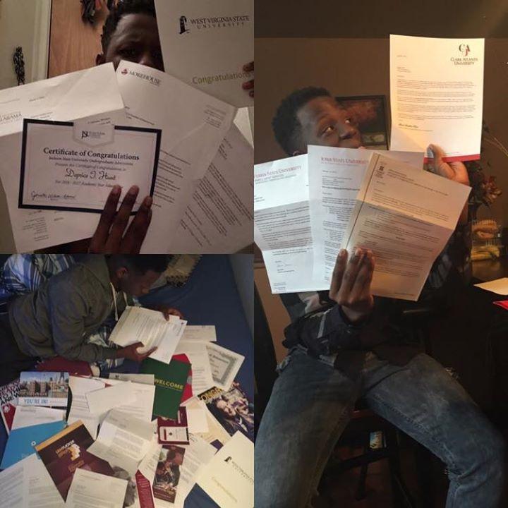 迪普瑞斯在臉書上開心秀出他和姐姐的大學錄取通知書,幾乎擺滿房間地板。圖/網絡照