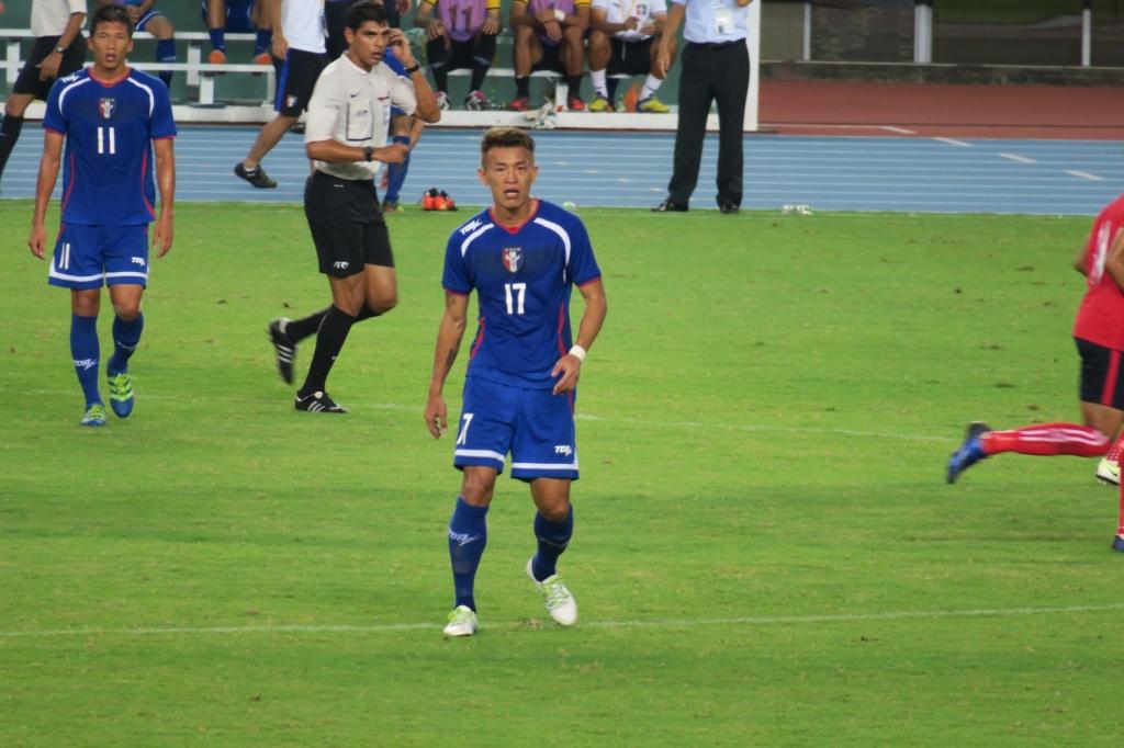 中華男足主力陳柏良(17號)此役表現出色,攻進一球。圖/蘇日晨攝