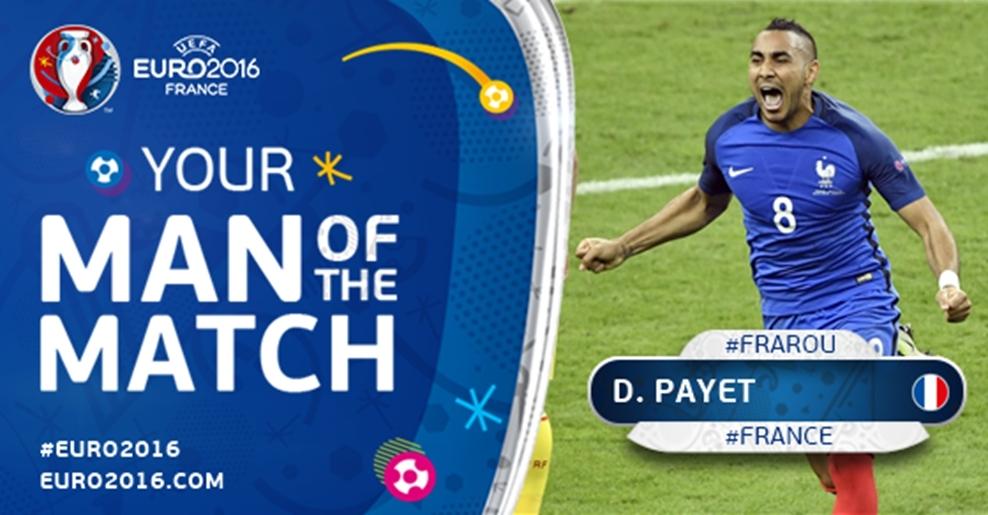 法國中場Payet本場一傳一射出色發揮助法國取勝,並獲選為全場最佳球員。圖/2016歐洲國家盃比賽官網