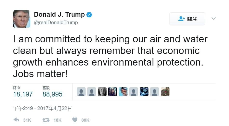 川普在推特上發表他的看法。 圖/川普Twitter