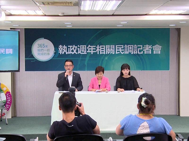 民進黨於19日舉辦執政周年相關民調記者會。圖╱鄭哲宇