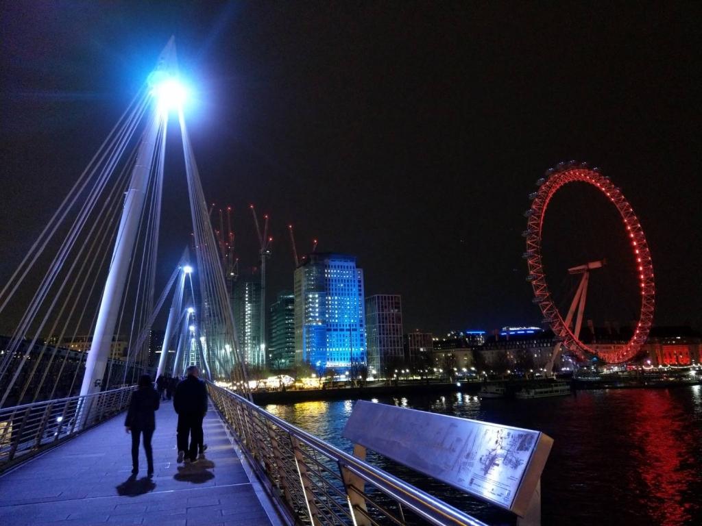 泰唔士河和倫敦之眼夜景。圖/Jim