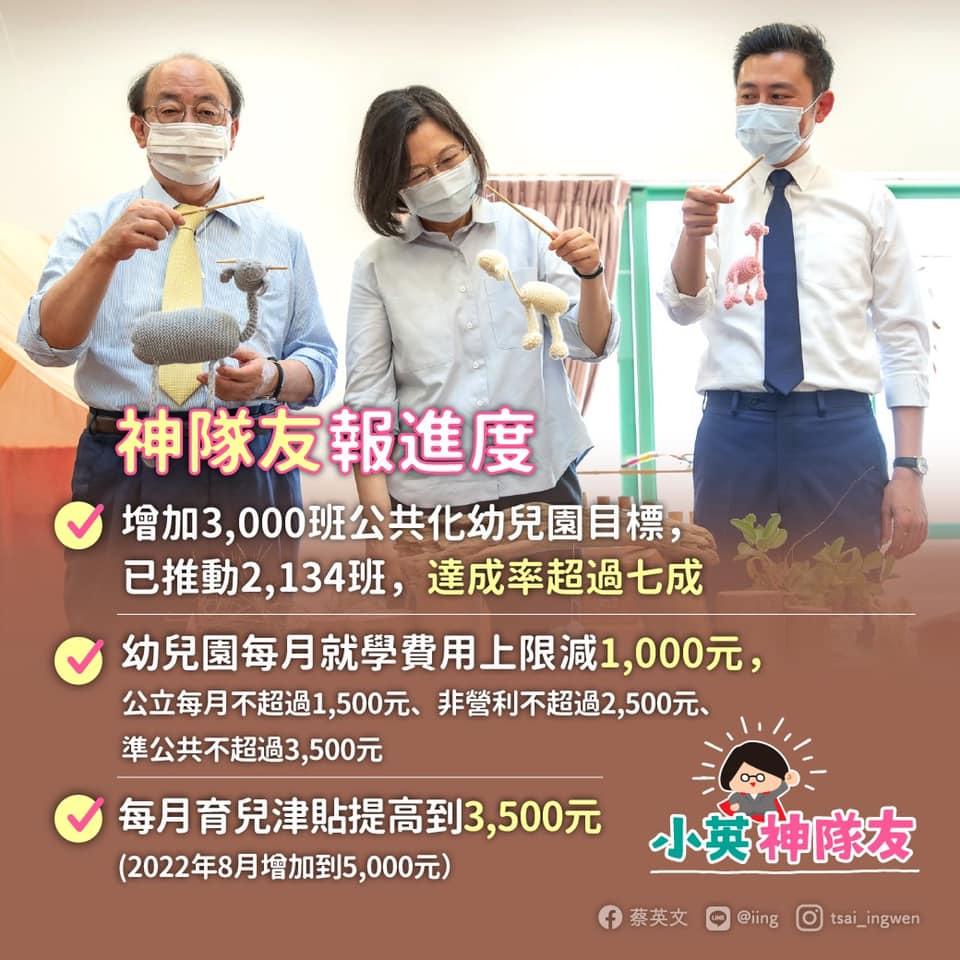 蔡英文總統「0到6歲國家跟你一起養」育兒政策。圖/蔡英文 Tsai Ing-wen臉書